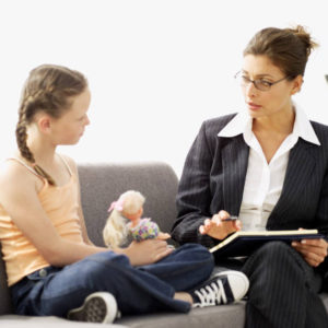 girl (8-9) taking to a child psychologist